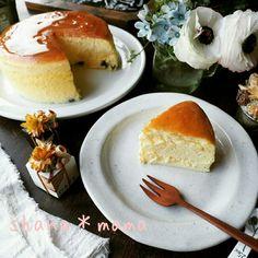 やっと出来たよ大成功❤表面割れなしスフレチーズケーキ♪