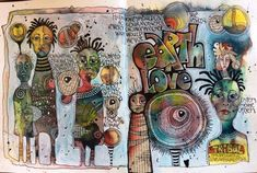 Art journal pages, artist journal, art journaling, art journal inspir Art Journal Pages, Artist Journal, Artist Sketchbook, Art Journals, Sketchbook Inspiration, Art Journal Inspiration, Art Inspo, Moleskine, Zentangle