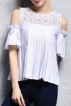 White Pierced Lace Paneled Pleated Blouse