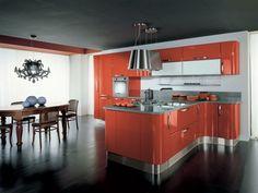 orange Küche Essplatz Küchentheke Einbaugeräte
