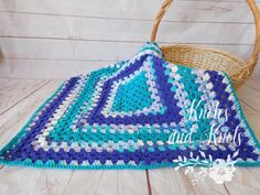 Crochet baby blanket  blue and purple  granny by knotesandknots