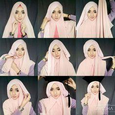 Tutorial Hijab Wisuda Syar'i by https://www.instagram.com/indahnurj/