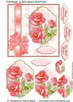 Pink Roses 6 Inch Card Front with Stacker Elements on Craftsuprint designed by Valerie Dawes - These designs are really quick and easy to assemble, with easy to see edges and a simple pyramage stacker on the card plaque. Of course if you want to take extra time, you could always print a couple of additional sheets and make some decoupage ribbons and bows! Includes greetings for anniversary, birthday and get well, as well as plain on the card.This sheet features an arrangement of pretty pink…