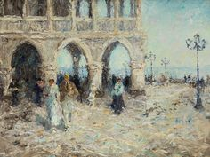"""amare-habeo: """" Otto Pippel (German, The Piazzetta in Venice (Die Piazzetta in Venedig), N/D Oil on canvas, 51 x 62 cm """" Berlin Art, Peace Art, Watercolor Pictures, Landscape Paintings, Oil Paintings, Landscapes, Medium Art, Art Day, Oil On Canvas"""