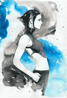 Girl with the Dragon Tattoo | Cate Parr #watercolor  #illustration