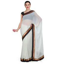 White Chiffon Saree with Mukaish Work | Fabroop