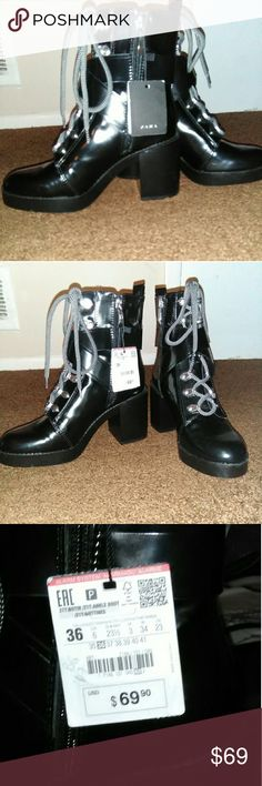 Zara WOMEN'S COMBAT BOOT Black Zara Women's Combat Boot Brand New with Tags!!! The Jacket is For sale as well comment if you are interested we can bundle or separate!! Give me your best offer!! Zara Shoes Combat & Moto Boots
