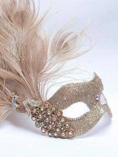 gorgeous gold & champagnes venetian masquerade mask. Unique design by masque boutique with Swarovski Crystals. £69.99