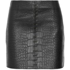 Alexander Wang Croc-effect leather mini skirt ($270) ❤ liked on Polyvore featuring skirts, mini skirts, bottoms, saias, alexander wang, black, leather zipper skirt, alexander wang skirt, real leather skirt and leather skirt