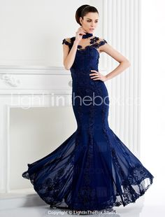 Homecoming TS Couture Formal Evening Dress - Dark Navy Trumpet/Mermaid High Neck Sweep/Brush Train Lace 2015 – $149.99