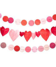paper heart garland strands
