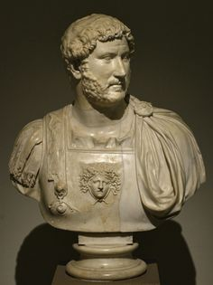 ~Hadrian set in a bust with cuirass. Medium: Marble Date: Ca. 130 CE. Naples, National Archaeological Museum (Museo archeologico nazionale di Napoli)