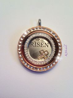 Rose gold large locket., Swarovski crystals window frame inside.. He is Risen plate.. Origami Owl carri.origamiowl.com