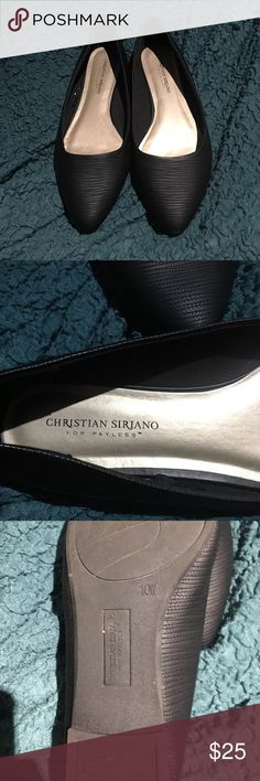 Christian Siriano black wide width flats These simple but beautiful black flats are a perfect addition to any career woman's closet.  Walk in comfort and with pride.  Comfortable, simple but cute as well.  Wide width. Christian Siriano Shoes Flats & Loafers