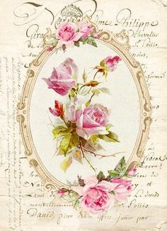 Scrapbooking Vintage, Pink Roses, Pink Flowers, Floral Vintage, Images Vintage, Vintage Thanksgiving, Rose Frame, Decoupage Vintage, Rice Paper