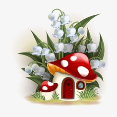 Illustration about Lily of the valley and mushroom house. Illustration of illustration, door, house - 34903329 Mushroom House, Mushroom Art, Lily Of The Valley, Fabric Painting, Rock Art, Cute Drawings, Painted Rocks, Art For Kids, Diy And Crafts