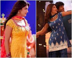 Sruthi Hasan Salwar's in Ramaiya Vastavaiya Movie Salwar Neck Patterns, Salwar Neck Designs, Churidar Designs, Patiala Suit, Anarkali Suits, Punjabi Suits, Salwar Kameez, Saree Blouse, Sari