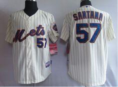 $22.00 MLB Jerseys New York Mets Johan Santana #57 Cream