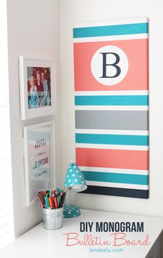 DIY Monogram Bulletin Board |Great way to customize a bulletin board for any room in the house.