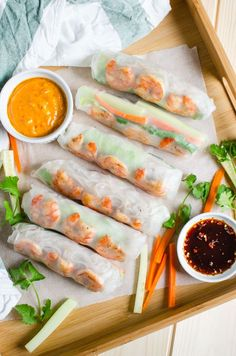 Vietnamese Healthy Spring Rolls with Peanut Butter Sauce by watchwhatueat #Spring_Rolls #Healthy