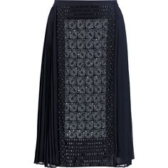 Tory Burch Ivy embellished silk-chiffon skirt (4 235 ZAR) ❤ liked on Polyvore featuring skirts, midnight blue, blue sequin skirt, blue skirt, blue pleated skirt, tory burch skirts and navy blue skirt