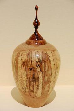 Spalted Oak vessel, Cocobolo finial