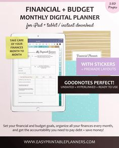 Financial Digital Planner for iPad or Android Tablet, Monthly Budget Planner, Income + Expense Tracker, Savings Plan, and Track Debt Payoff Financial Budget, Financial Planner, Business Planning, Business Tips, Expense Tracker, Bills Tracker, Monthly Budget Planner, Planning Budget, Sample Budget