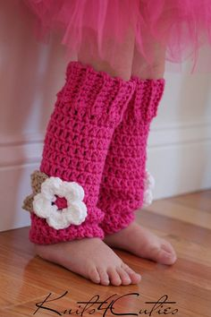 crochet leg warmers | Crochet Baby Leg Warmers, hot pink with white flower, girls legwarmers ...
