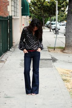 Made for Walking ===  secondhand blouse via yard sale , Target pink belt  ; thrifted Express pants; Vince Camuto heels