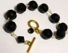 Black Bead and Gold Link Bracelet   Made in Canada by LinksLocks, $20.00