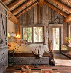 LOG CABIN- Visually, log homes tend to separate into two broad options. One is the historic style with dovetail corners and Chinking, that you see on our 55 Best Log Cabin Homes Modern page. Rustic Bedroom Design, Home Decor Bedroom, Bedroom Ideas, Bedroom Retreat, Bedroom Designs, Bedroom Furniture, Rustic Design, Girls Bedroom, Lodge Bedroom