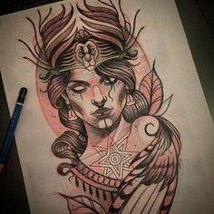 Breathtaking Neo-Traditional Tattoos By Toni Donaire Head Tattoos, Sleeve Tattoos, Tattoo Sketches, Tattoo Drawings, Traditional Tattoo Design, Traditional Tattoos, Neo Traditional Art, American Traditional, Tatoo Art
