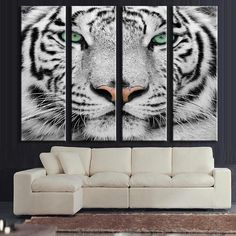On Sale: White Tiger Canva.... Details here: http://www.rousetheroom.com/products/white-tiger-canvas-art-set-large-4-panels?utm_campaign=social_autopilot&utm_source=pin&utm_medium=pin
