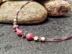 Tibetan Silver, White Howlite, Glass, and Resin Beads / Whimsical Necklace / Red, Purple and Silver