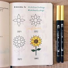 Sunflower by @direiellie   One of my favourite flowers that reminds me of summer! ☀️  To join the challenge and be featured:  - Use a tutorial and take a picture of your work  - Follow and tag @letsdrawchallenge  - Use #LetsDr...