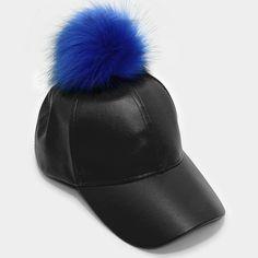 eb1c720299c Pom pom fur leather baseball cap • Color   Black