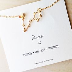 Pisces Zodiac Sign Necklace/constellation necklace/Pisces necklace/pisces constellation necklace/star sign necklace/zodiac jewelry/14kt  PISCES- Ruler Neptune the God of Inspiration (Feb 19- Mar 20)  This simple yet elegant Pisces Constellation Necklace features a premium Pisces constellation charm and 14k gold plated chain (16 long), with a extension chain so the necklace can go longer.  The item is hand-made, designed, and packaged with love ♥ Couldnt find what youre looking for, Ill be…