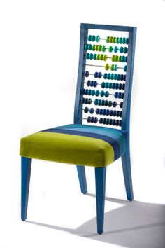 Furniture chair Happy Abacus dining chair by BOTEH on Etsy Contemporary Furniture, Cool Furniture, Furniture Design, Unusual Furniture, Stylish Chairs, Cool Chairs, Muebles Art Deco, Blue Armchair, Diy Pillows