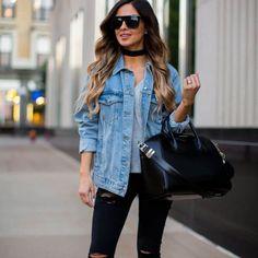 Denim Jacket, Black Jeans and Givenchy 'Antigona' Bag.