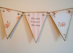 home sweet home wooden bunting on crochet