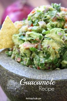 Simple Healthy Guacamole recipe is an incredibly fresh and flavorful Mexican appetizer. Authentically made with chunky avocados and tomatoes. Perfectly spiced with cilantro, jalapeño and garlic. This recipe will spoil you for all other guacamoles. Healthy Recipes, Mexican Food Recipes, Real Food Recipes, Healthy Snacks, Vegetarian Recipes, Cooking Recipes, Fast Recipes, Chicken Recipes, Guacamole Recipe Easy