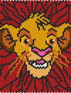 Young Simba Bead Pattern | Peyote Bead Patterns | Characters Bead Patterns