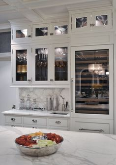 White Marble Countertops White Marble Backsplash Glass Front Wine - Gray cabinets with marble countertops