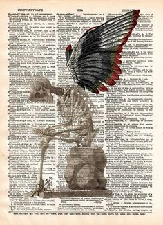 Fallen Angel art, skeleton art print, skeleton wings, dark art