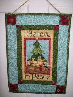 Dog cat mouse Christmas tree wall hanging by ExpressionQuilts, $19.00