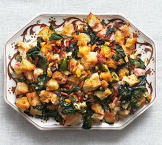 Swiss chard, olives, raisins, and pine nuts make this dressing irresistible.