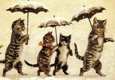 Umbrella Cats by Louis Wain anyone is this really wain? often attributed to Wain not by Wain