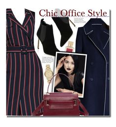 """""""Chic Office Style"""" by beebeely-look ❤ liked on Polyvore featuring Manolo Blahnik, Maison Francis Kurkdjian, Burberry, WorkWear, striped, officewear, officestyle and dezzal"""