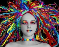 black and white, colourful, dreadlocks, eyes,