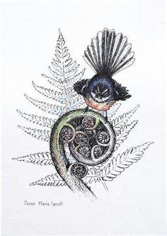 Koru and fantail - Nice idea foe tattoo. Koru and fantail - Koru Tattoo, New Zealand Tattoo, New Zealand Art, Maori Patterns, Maori Tattoo Designs, Nz Art, New Tattoos, Maori Tattoos, Bird Tattoos